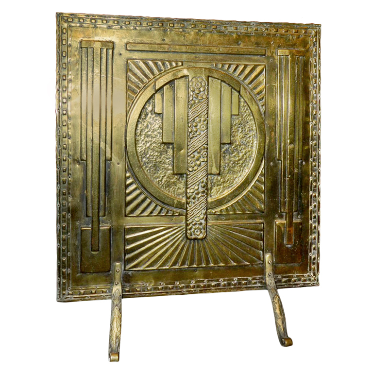 Art Deco Fireplace Br Screen With Modernist Design