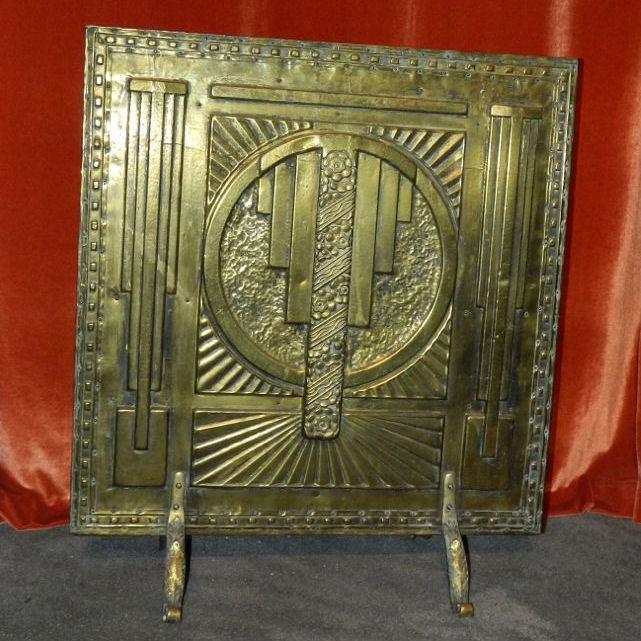 Art Deco Fireplace Brass Screen With 3d Modernist Design Sold Items Ironwork Art Deco Collection