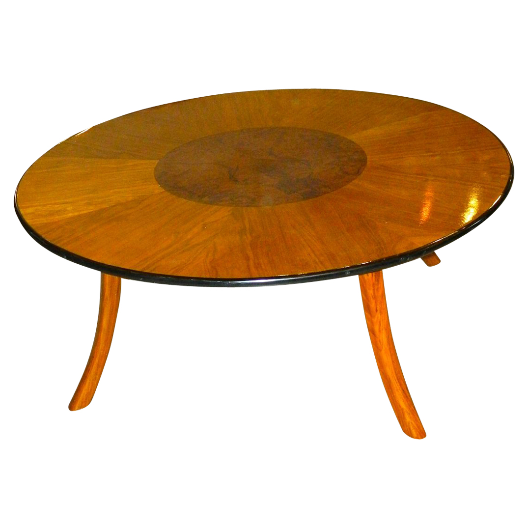 Great art deco custom-design round coffee table with multi color woods