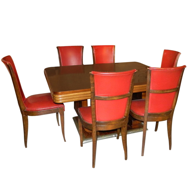 Sensational Original French Art Deco Modernist Dining Table And Chairs Machost Co Dining Chair Design Ideas Machostcouk