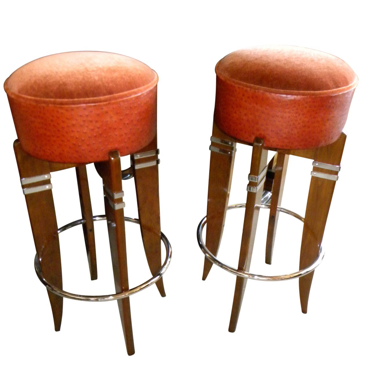 Superb Art Deco Custom Barstools French Style