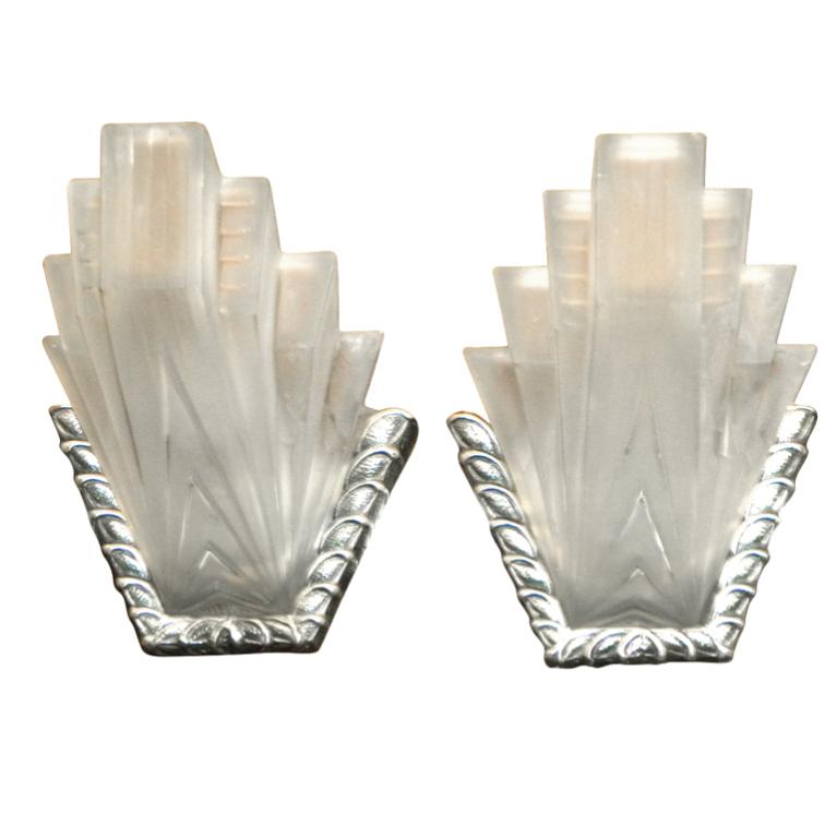 Fabulous French Art Deco Modernist Pair Glass Sconces PETITOT