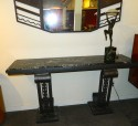 Custom French Iron Style Console with black and white marble top