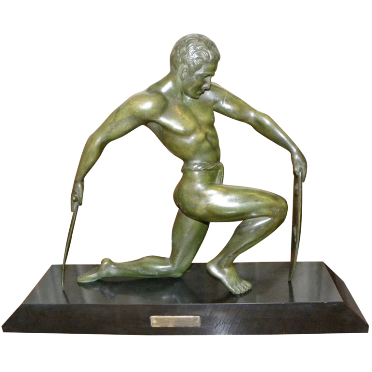 Bronze male Art Deco Warrior statue by Kowatz