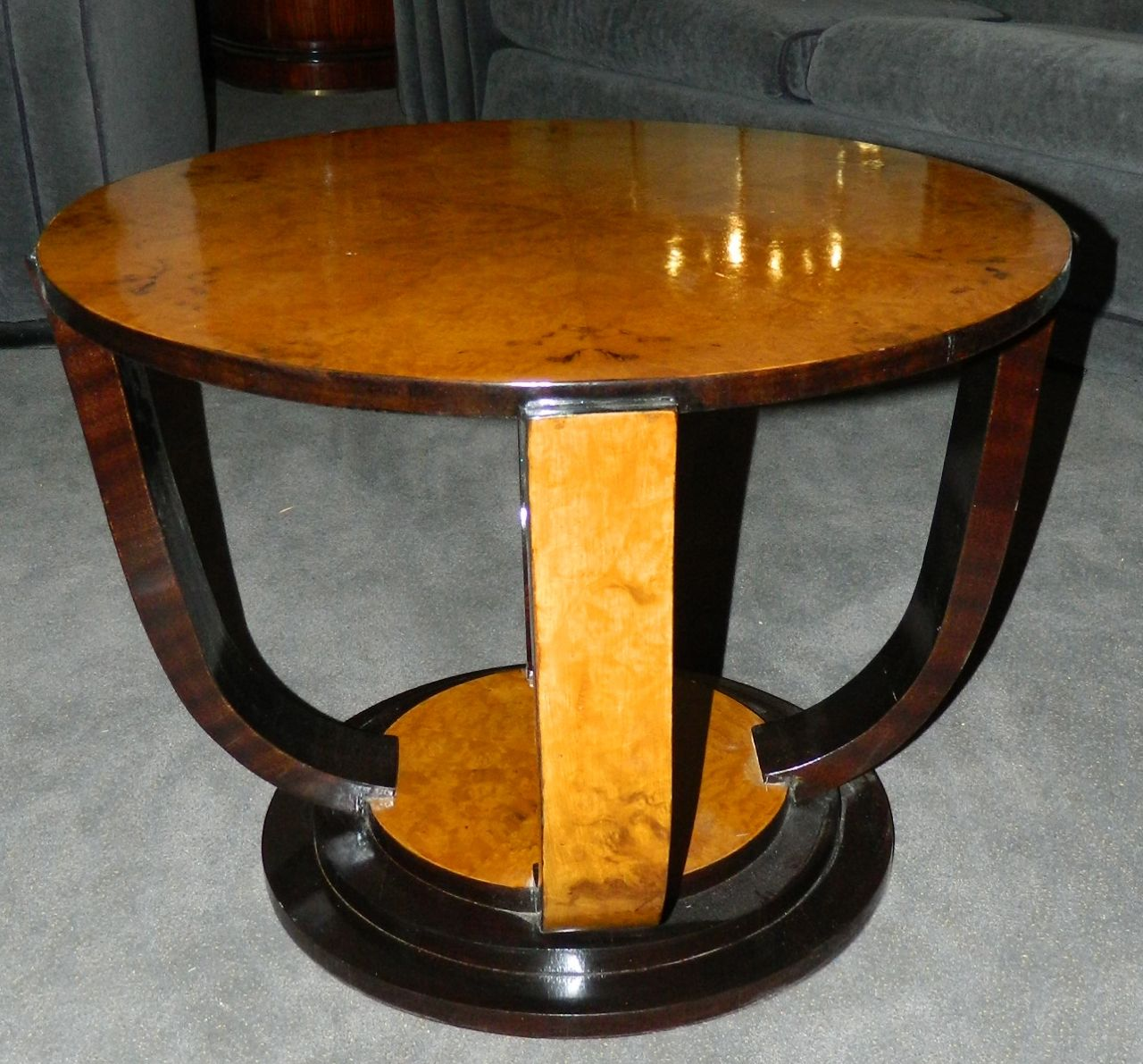 two tone art deco round table sold items small tables art deco collection. Black Bedroom Furniture Sets. Home Design Ideas