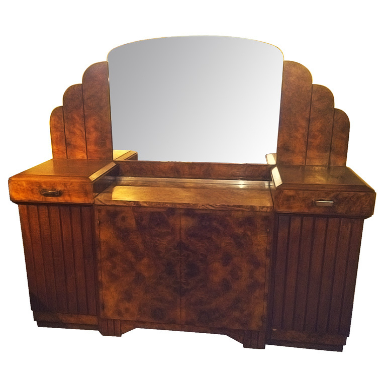 Stunning French Art Deco Buffet With Matching Mirror 1930 S