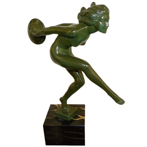French Art Deco Female Nude Disc Dancer statue by Garcia