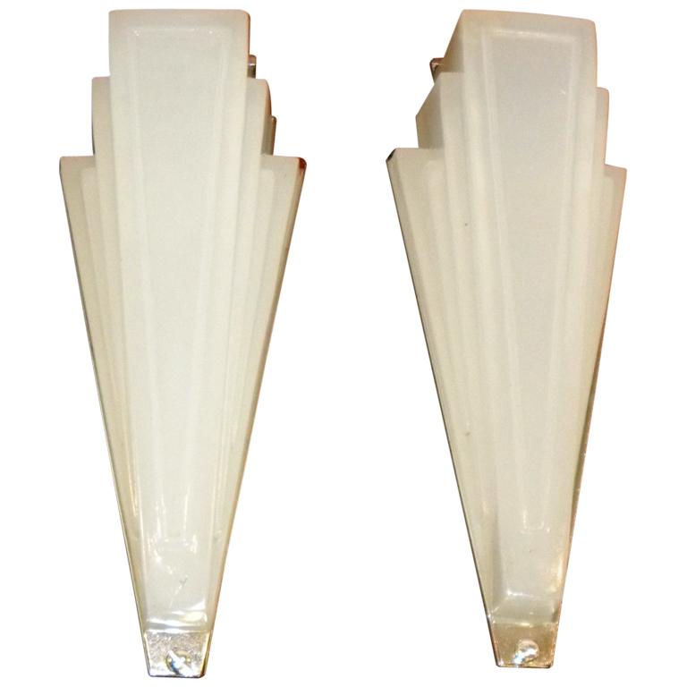 art deco lighting sconces stepped opaque glass sold items sconces