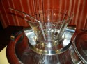 Stunning Rare Art Deco Etched glass modernist Punch bowl & Tray