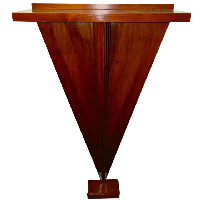 Original stepped wood Art Deco console