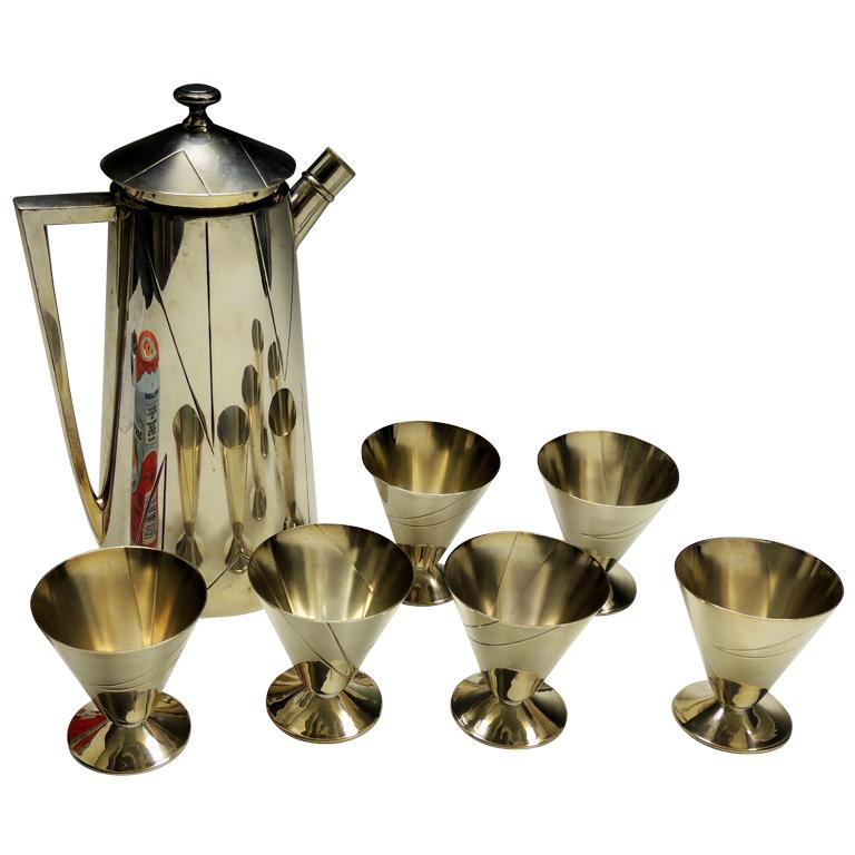 "Rare cocktail shaker set by Bernard Rice ""Shadow"" Circa 1922"