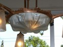 Mueller Modernist Copper Chandelier, Unusual color French Art Deco