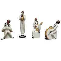 Very Rare Original Robj Collection 4 Piece Jazz Band French Art Deco