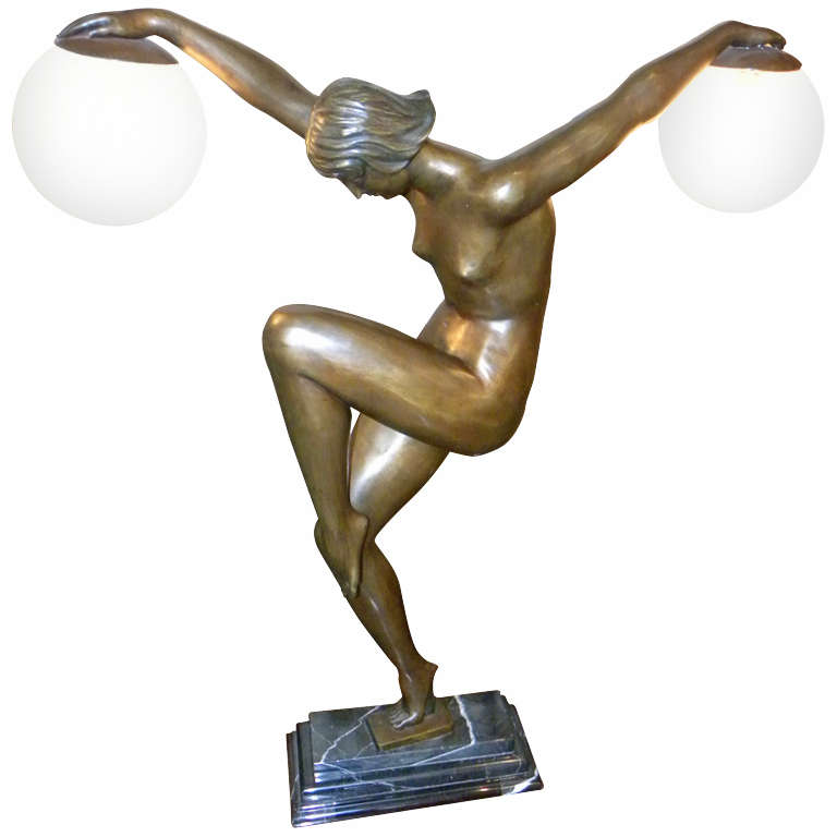 French Art Deco Style Woman Danseuse aux Boules Lamp
