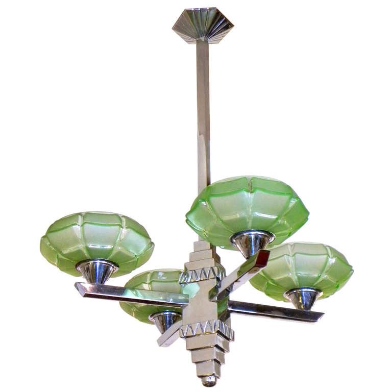 Art Deco Streamline Modernist Chandelier stunning glass