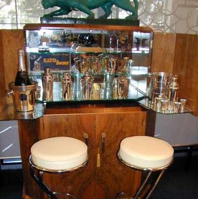 Fabulous English Deco two tier bar