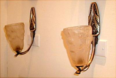French Glass and Nickel Sconces