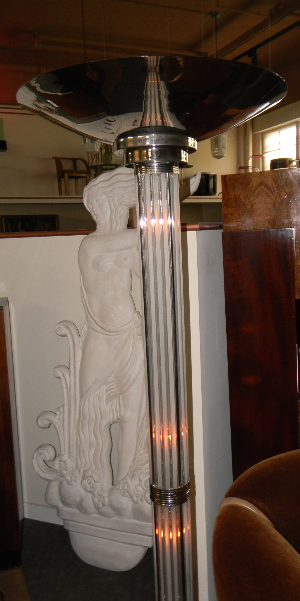 Stunning Art Deco Floor Lamp With Glass Rods And Lights