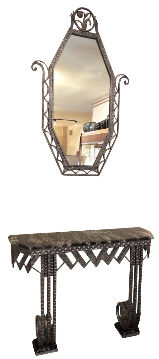 Iron Console with Matching Mirror