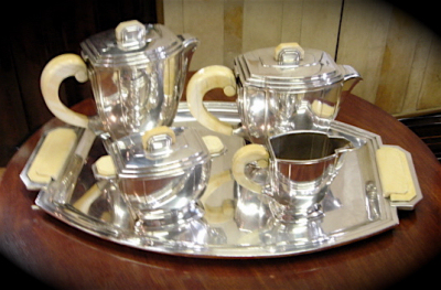 Rare French 5 Piece Coffee/Tea Service With Ivory Handles • Signed Bafico