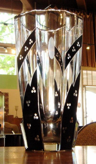 1930s Large Art Deco Czech Glass Vase Glass Art Deco