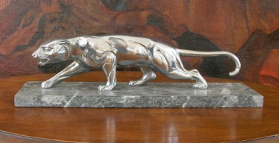 1930s Nickel-plated Bronze Panther Statue
