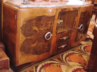 930s French Walnut Art Deco Buffet China Cabinet