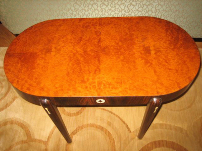 Art Deco Oval Coffee Table • Macassar and Amboyna