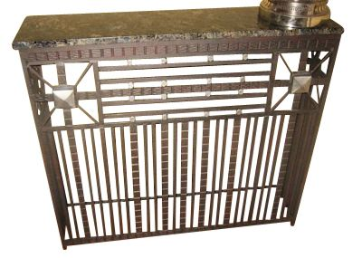 Fer forge iron console with marble top ironwork art for Deco fer forge mural