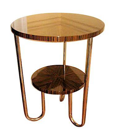 Macassar and Chrome Side Table