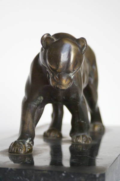 1930s French Metal Panther Sculpture Signed Rochard