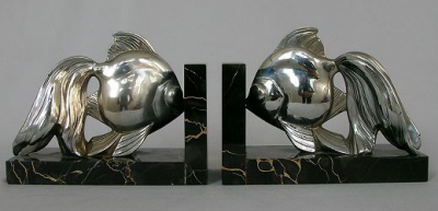 1930s Art Deco Fish Bookends