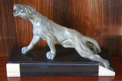 1930s Cubist Panther Sculpture • Signed - Notari