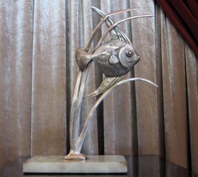 1930s French Art Deco Fish Sculpture • Signed - Len