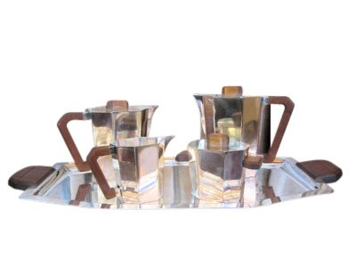 Modernist 1930s French Art Deco Coffee & Tea Set