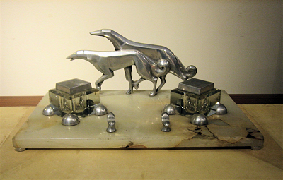 1930s Art Deco Greyhound Desk Set • Signed