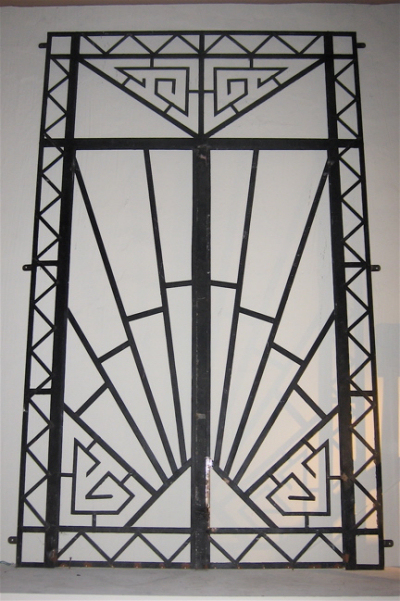 1930s Art Deco Wrought Iron Double Entry Door Sold Items Ironwork Art Deco Collection