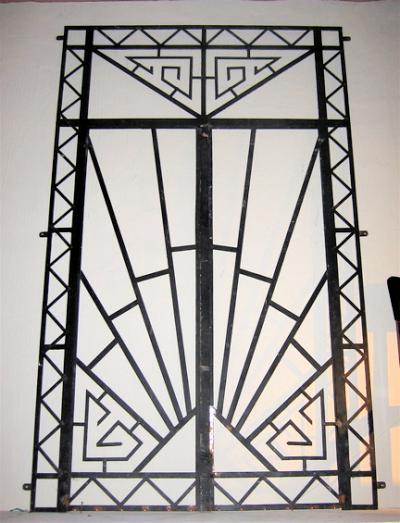 1930s art deco wrought iron double entry door sold items for Art deco rooms 1930 s