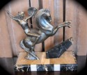 1930s French Art Deco Siren with Spear on Horse Sculpture
