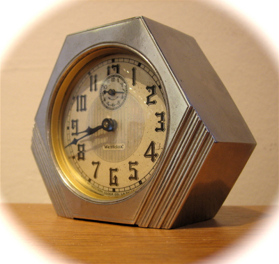 1930s american art deco alarm clock westclox sold Art deco alarm clocks
