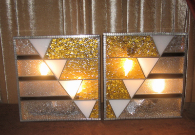 Large 1930s French Glass Sconces • Pair