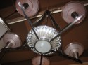 1940s French Modernist Chandelier with Pink Glass