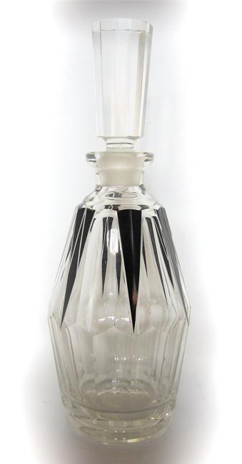 1930s Czech Art Deco Crystal Decanter Set • 8 Pieces