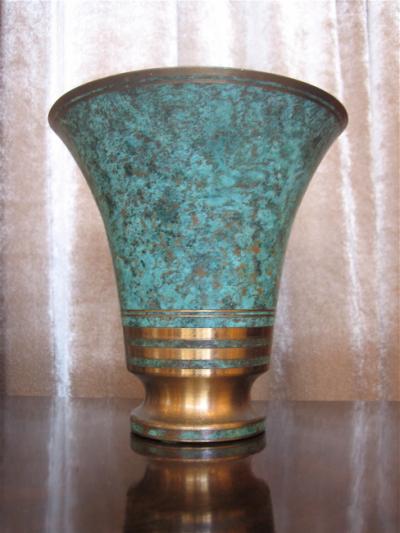 1920s Art Deco Bronze Vase Signed By Carl Sorenson
