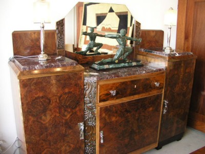 Large Art Deco Buffet With Marble Top And Mirror