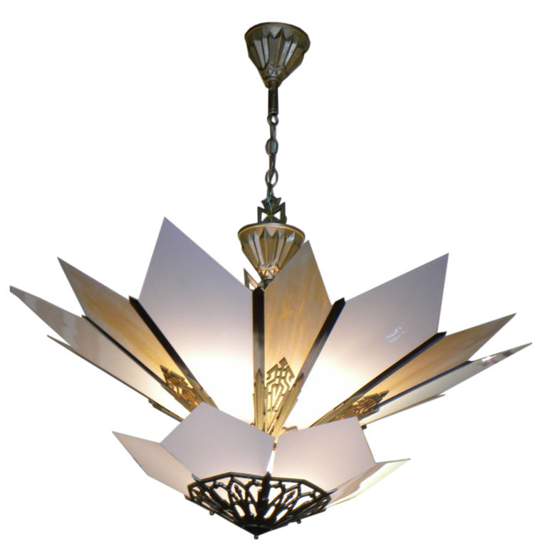 Spectacular Movie Theater Style Two-tier Art Deco Chandelier