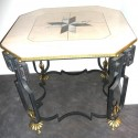 Stunning Art Deco Marble with Iron Regency Style Table