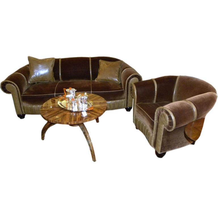 Glamorous Art Deco Sofa Chair Suite