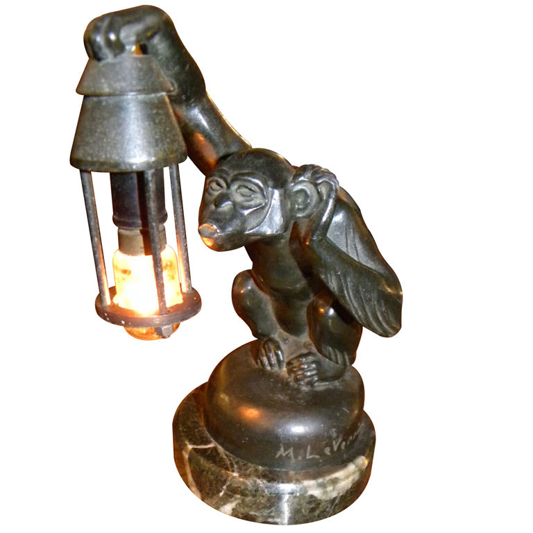 1920s Quot Boubou Quot Monkey Sculpture Lamp Max Le Verrier