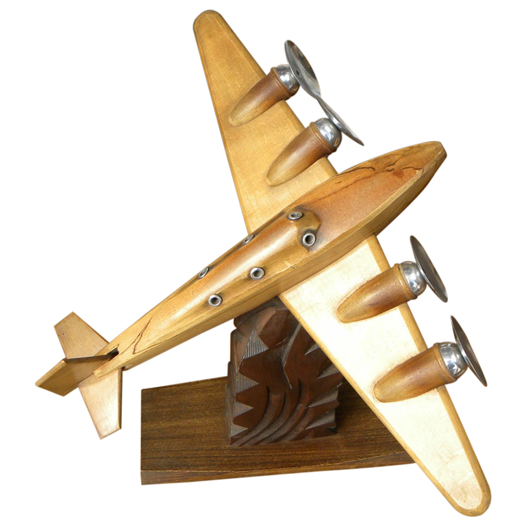 Original French Wood and Chrome Model Airplane